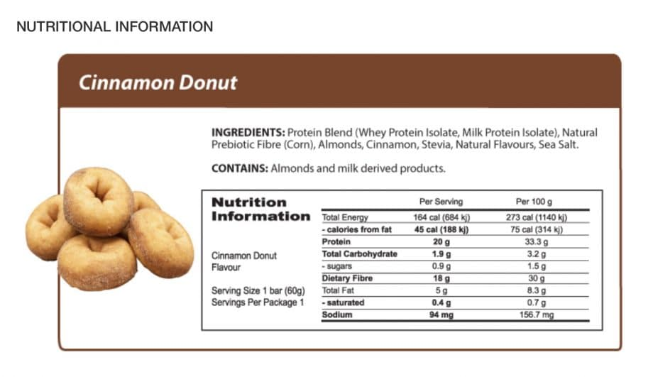 Cinnamon DonutProtein Bar Nutrition Label