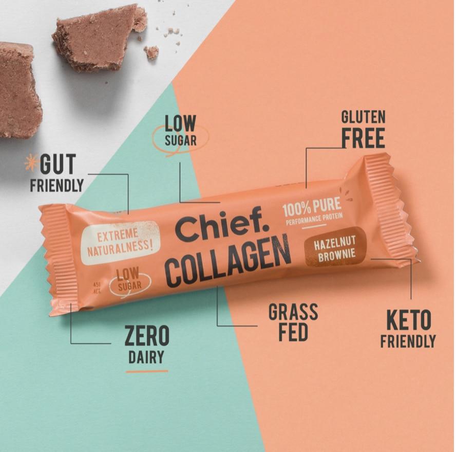 Hazelnut brownie collagen protein bar