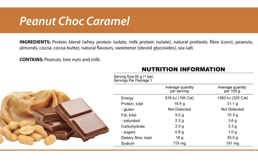 Nutritional information on smart diet solutions peanut choc chip protein bar