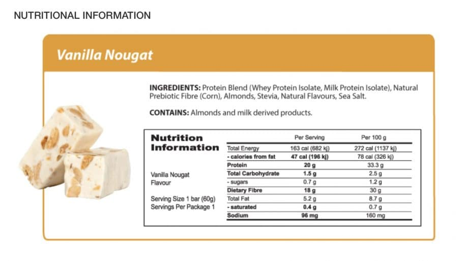Nutritional Information for vanilla nougat protein bar sold on the tetra care health food store online with AfterPay and paypal